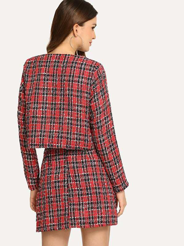 3b929ccd3d Button Up Plaid Tweed Coat and Skirt Co-ord | SHEIN UK