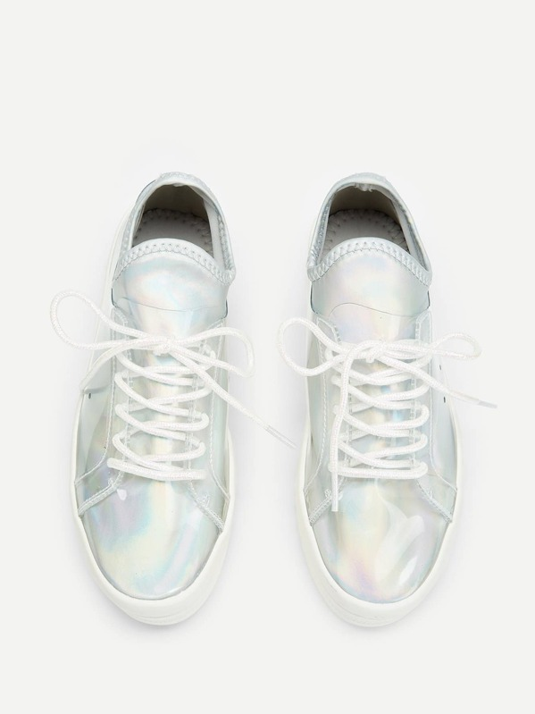 e67cc7dea5 Iridescent Lace-up Chunky Sneakers | SHEIN