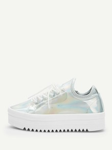 Iridescent Lace-up Chunky Sneakers