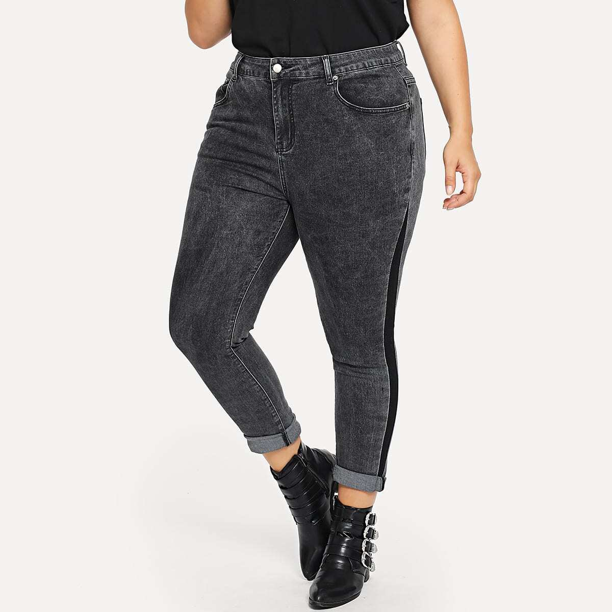 Стильные облегающие джинсы размера плюс