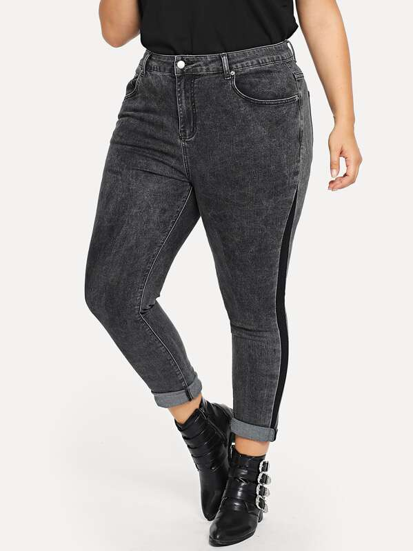 Shein Plus Contrast Panel Skinny Jeans by Sheinside