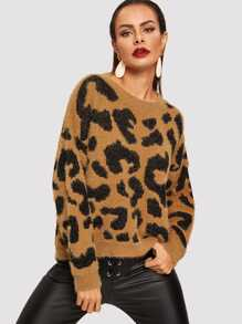 Drop Shoulder Leopard Fluffy Sweater