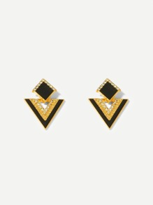 Rhinestone Engraved Geometric Stud Earrings 1pair