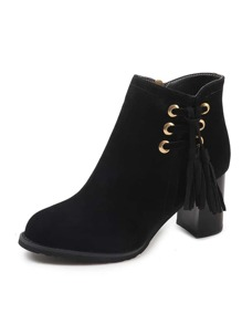 Tassel Decor Chunky Heeled Boots
