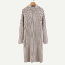 Raglan Sleeve Rib Knit Trim Sweater Dress