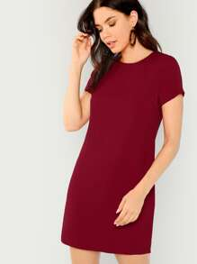 Zip Back Solid Tunic Dress