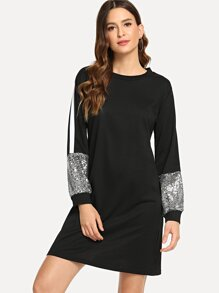Contrast Tape Sequin Sleeve Sweatshirt Dress