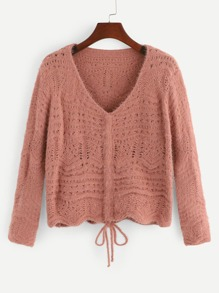 Cut Out V-Neck Fuzzy Jumper