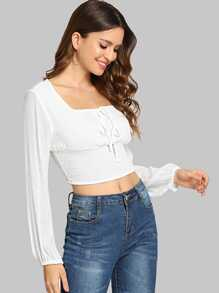 Square-Neck Shirred Crop Blouse