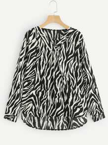 Plus Zebra Print V-Neck Blouse