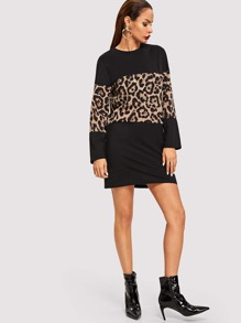 Cut And Sew Panel Leopard Print Dress