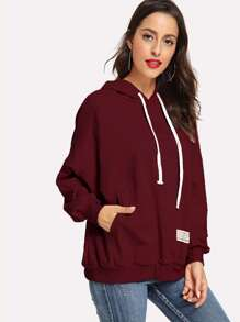 Drawstring Kangaroo Pocket Drop Shoulder Hoodie