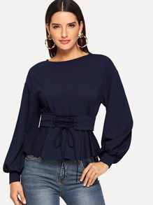 Lantern Sleeve Top with Corset Belt