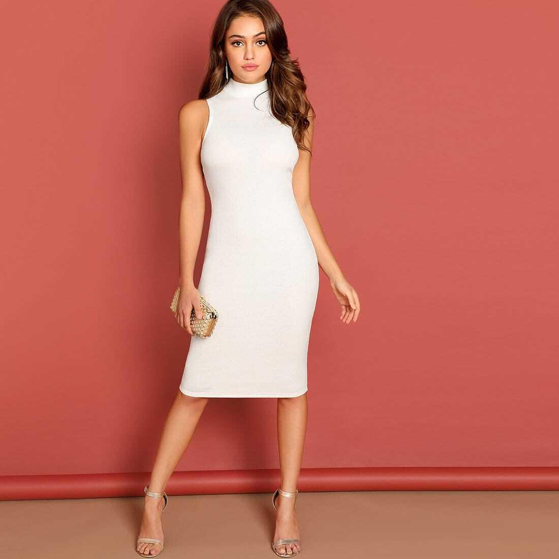 Трикотажное платье-карандаш с вырезом под горло SheIn dress181017740