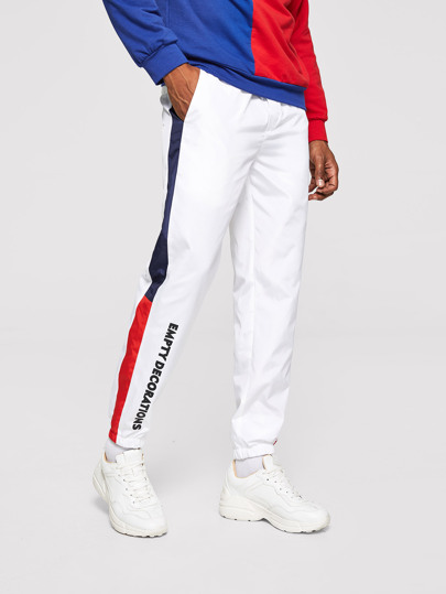 Guys Color Block Side Letter Graphic Pants