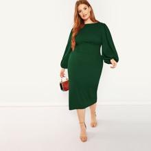 Plus Lantern Sleeve Belted Pencil Dress