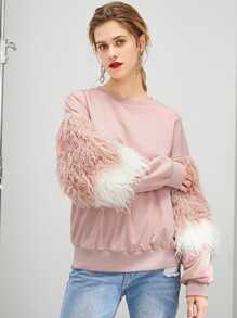 Faux Fur Detail Drop Shoulder Pullover