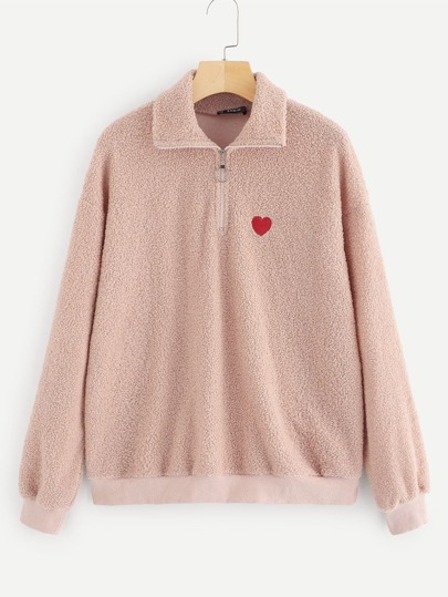 Half Placket Embroidered Teddy Pullover