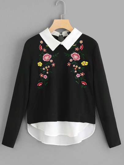 Floral Embroidered 2 In 1 Blouse