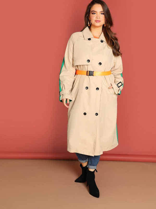 69447d010c Plus Colourblock Double Breasted Trench Coat