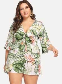 Plus Knot Front Tropical Top & Shorts Co-Ord