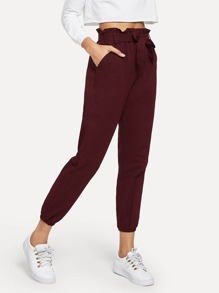 Tie Waist Frill Trim Solid Pants