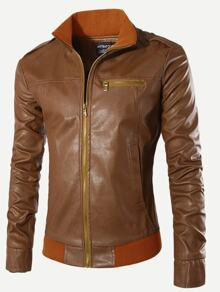 Men Stand Collar Solid PU Jacket