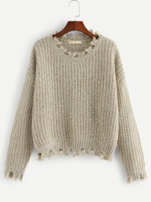 Plus Frayed Trim Glitter Sweater