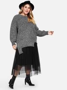 Plus Asymmetrical Hem Marled Sweater