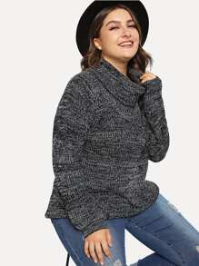Plus Rolled Up Neck Marled Knit Sweater