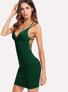 Criss-cross Strappy Back Bodycon Cami Dress