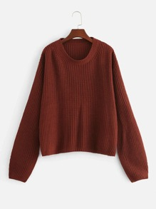 Plus Drop Shoulder Solid Sweater