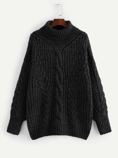 Plus Turtleneck Cable Knit Marled Sweater