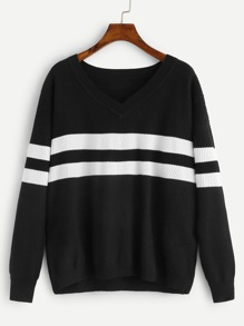 Plus V-Neck Striped Jumper