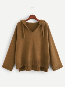 Plus Drop Shoulder Stepped Hem Hooded Sweater
