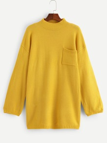 Mock-Neck Pocket Patched Sweater
