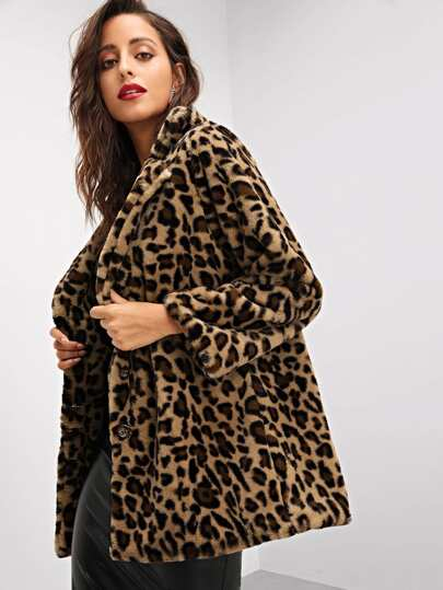 Notch Collar Leopard Print Teddy Coat