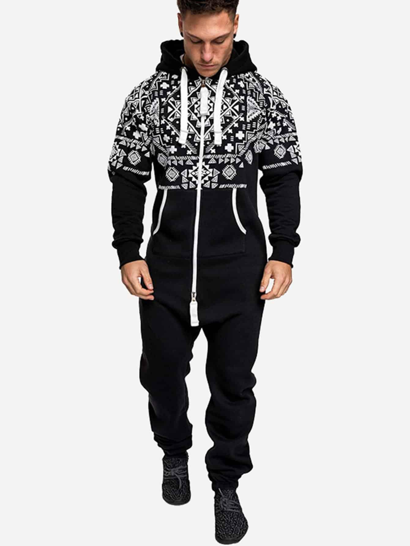 Men Geometric Pattern Drawstring Hooded Jumpsuit Men Geometric Pattern Drawstring Hooded Jumpsuit