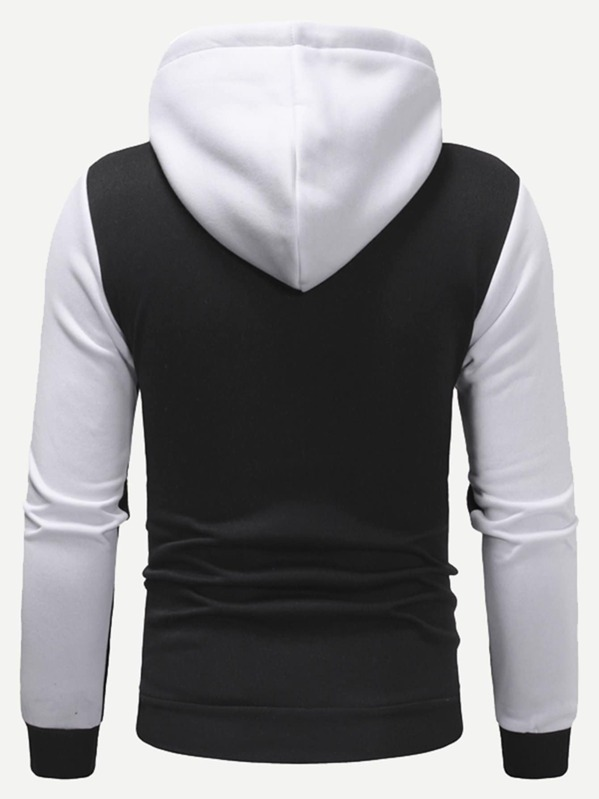 7a48001a39 Men Cut And Sew Panel Zip Up Hoodie | SHEIN UK