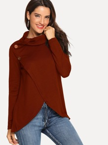 Button Detail High Neck Jumper