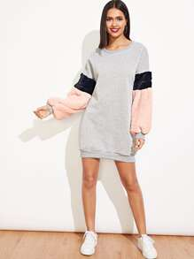 Contrast Shearling Sweatshirt Dress