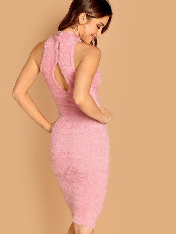 6db05b5f5ab Fuzzy Knit High Neck Bodycon Sleeveless Dress