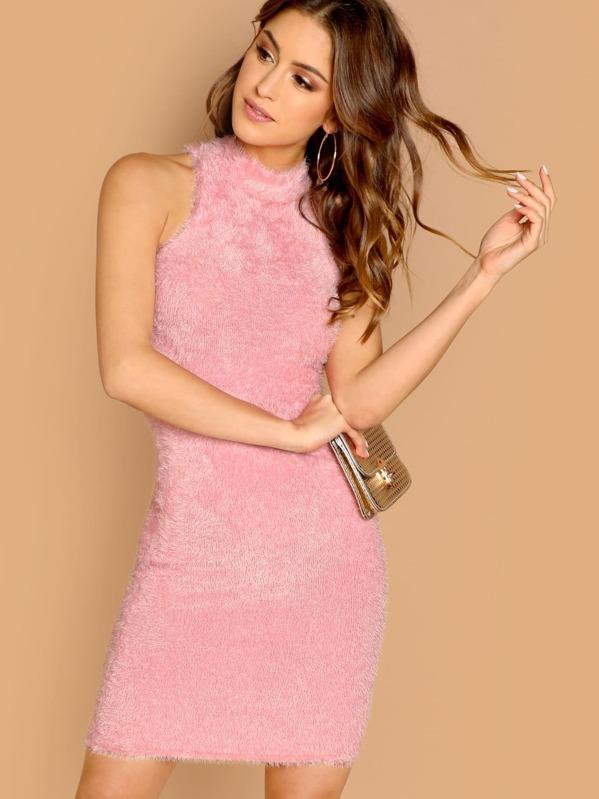 5bd7144c9e5 Cheap Fuzzy Knit High Neck Bodycon Sleeveless Dress for sale Australia