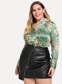 Plus Satin Floral Print Blouse