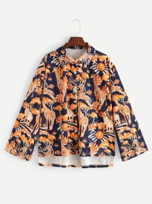 Plus Giraffe Print High Low Blouse