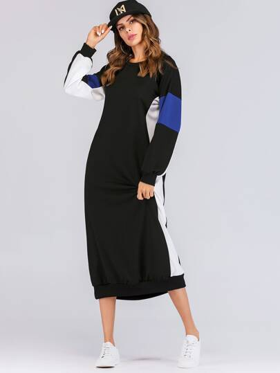 Colorblock Drop Shoulder Longline Sweatshirt Dress