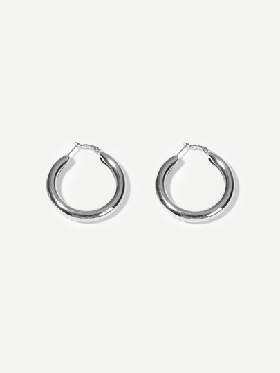 Plain Metal Hoop Earrings 1pair
