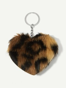 Heart Shaped Leopard Fluffy Keychain