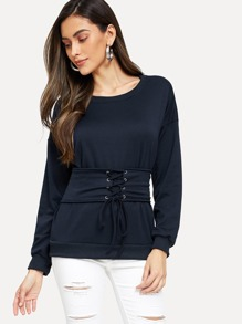 Grommet Lace Up Corset Sweatshirt