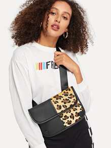 Contrast Leopard Pattern Bum Bag